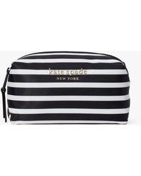 Kate Spade Everything Puffy Stripe Medium Cosmetic Case - Black