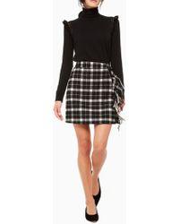 Kate Spade Rustic Plaid Fringe Skirt - Black