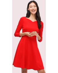 Kate Spade Ponte Fit-and-flare Dress - Red