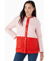 Kate Spade Colorblock Quilted Coat - Pink