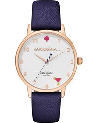 Kate Spade - Metro 5 O'clock Somewhere Navy Leather Watch - Lyst