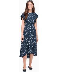 Kate Spade Daisy Toss Flutter Sleeve Dress - Blue