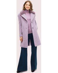 Kate Spade Faux Fur Lapel Coat - Purple