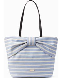 Kate Spade - On Purpose Sailing Stripe Canvas Bow Tote - Lyst