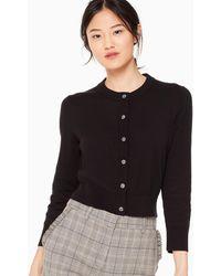 Kate Spade Jewel Button Cropped Cardigan - Black