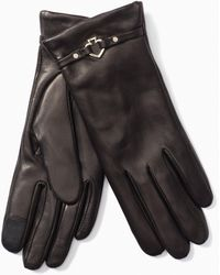 Kate Spade Cut Out Spade Leather Gloves - Black