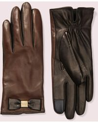 Kate Spade Leather Bow Tech Gloves - Black