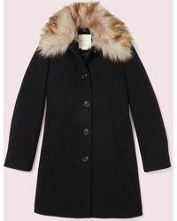 Kate Spade Out West Bow Back Fur Collar Coat - Black