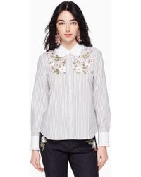 Kate Spade - Embroidered Stripe Ruffle Top - Lyst