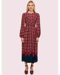 Kate Spade Rawr Crepe Midi Dress - Red