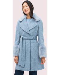 Kate Spade Flauschiger Mantel Mit Taillengürtel - Blue