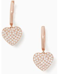 Kate Spade - Yours Truly Pave Heart Hoops - Lyst