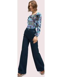 Kate Spade Denim Button Trouser - Blue