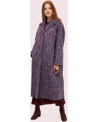 Kate Spade Brushed Leopard Overcoat - Purple