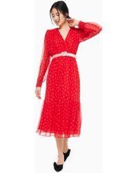 1f66d8de5fa3 Kate Spade - Heartbeat Silk Midi Dress - Lyst