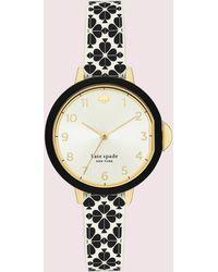 Kate Spade Park Row Cream Dial Three-hand Flower Print Silicone Watch - Multicolour
