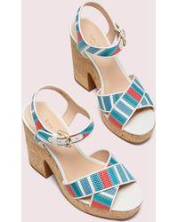 Kate Spade Grace Striped Raffia Platform Sandals - Blue