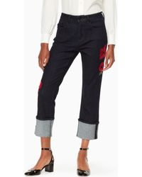 Kate Spade Poppy Embroidered Jean - Blue
