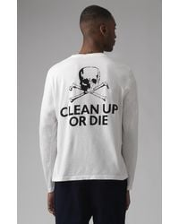Katharine Hamnett Clean Up Or Die White Organic Cotton Long Sleeves T-shirt