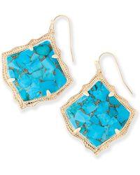 Kendra Scott - Kirsten Drop Earrings In Bronze Veined Turquoise - Lyst
