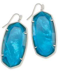 Kendra Scott Faceted Danielle Silver Statement Earrings - Blue