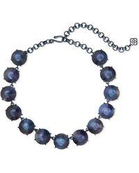 Kendra Scott Jolie Navy Gunmetal Statement Necklace - Blue