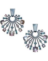 Kendra Scott Fabia Small Navy Gunmetal Statement Earrings - Blue