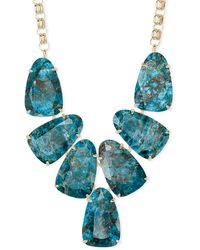 Kendra Scott Harlow Gold Statement Necklace In Aqua Apatite - Blue
