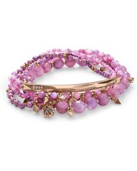 Kendra Scott - Supak Rose Gold Beaded Bracelet Set In Lilac Mother Of Pearl Mix - Lyst