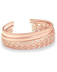 Kendra Scott - Tiana Rose Gold Pinch Bracelet Set In Rose Gold Filigree - Lyst