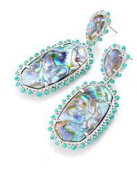 Kendra Scott Parsons Bright Silver Statement Earrings - Blue