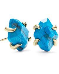 Kendra Scott Inaiyah Gold Stud Earrings In Aqua Howlite - Blue