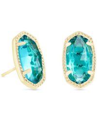 Kendra Scott - Ellie Gold Stud Earrings In London Blue - Lyst