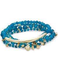 Kendra Scott - Supak Gold Beaded Bracelet Set In Teal Agate - Lyst