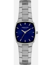 Kenneth Cole Women's Muted Silver Watch With Deep Blue Dial - Metallic