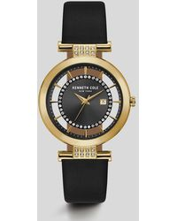 Kenneth Cole - Transparent Black Gold-tone Leather Watch - Lyst
