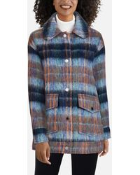 Kenneth Cole Plaid Oversized Button Front Wool Coat - Blue
