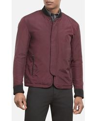 Kenneth Cole Colorblocked Water-resistant Bomber Jacket - Purple