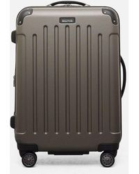 "Kenneth Cole Renegade 24"" Lightweight Hardside Expandable 8-wheel Spinner Checked Luggage, Silver - Black"