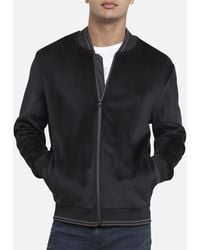 Kenneth Cole Velour Knit Bomber With Tipping - Black