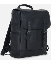 Kenneth Cole Colombian Leather Flapover Backpack - Black