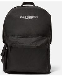 Kenneth Cole Packable Raincoat With Backpack - Black