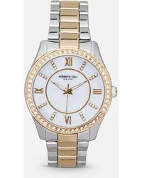 Kenneth Cole - Two-tone Rose Gold Link Watch With Crystal Halo Bezel - Lyst