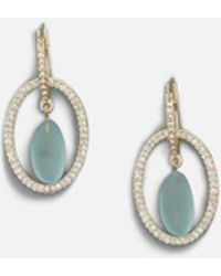 Kenneth Cole - Orbit Interlocking Hoop Earrings With Pave Crystal And Beach Stone Drop - Lyst