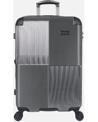 Kenneth Cole Lexington Ave Silver 24 Inch Checked Upright Suitcase - Black