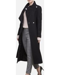 Kenneth Cole Womens Single Breasted Wool Coat with Buckle Closure