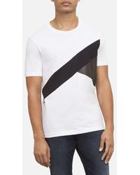 Kenneth Cole - Leather Panel Crew Neck Tee - Lyst