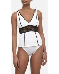 Kenneth Cole V-neck Wide Band Tankini Swimsuit Top - White