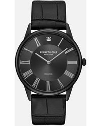 Kenneth Cole Diamond All Black Watch With Croc Strap