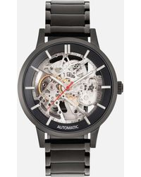 Kenneth Cole All Black Automatic Watch With Silver Skeleton Dial - Metallic